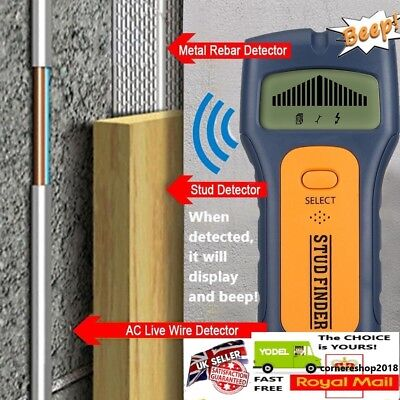 UK 3 in 1 Wall Detector Stud Center Finder Metal AC Live Wire Wood Scanner LCD