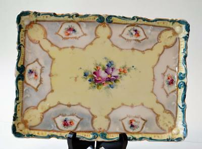 """30s SIE 30 COT URE NIPPON Bone China Japan Hand Painted FLOWERS 9 1/2"""" Tray"""
