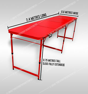 Outdoor Camping Table Folding Red Frame Aluminium (240cm L x 60cm W x 76cm H)