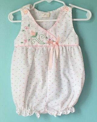 Vintage Baby Girl Romper Flowers Pink Roses 12 Months Spring Ribbon Embroidered