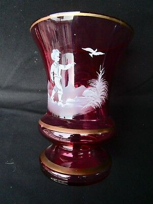 "Cranberry  Mary Gregory Glass   9"" Vase   White Enameled Boy  gold trimmed"