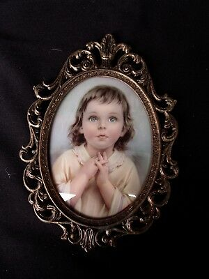 Vintage Ornate Metal Oval Convex glass Picture Frame  -  Child Praying