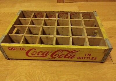 Yellow Wooden  Drink Coca Cola In Bottles Crate with dividers from 1967