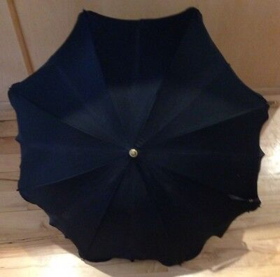 Vintage Lady's Petite Black Scalloped Edge Umbrella With Black Curved Handle