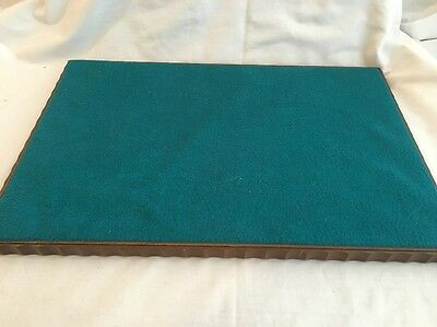 Vintage WOODEN TABLE DISPLAY Wood Felt Trim Teal Green Jewelry Watches Antiques