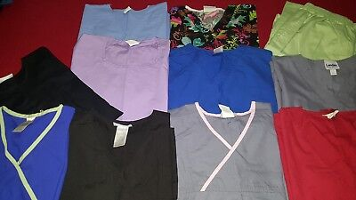 Large Lot of 11 Womens Scrubs Tops Pants Jacket- Sz M - Assorted Brands