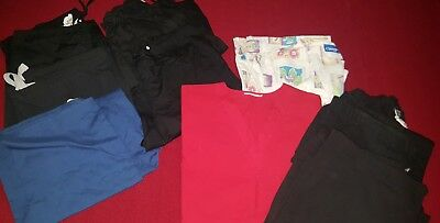 Lot of 7 Womens Scrub Pants 1 Scrub Top 1 Jacket - Sz Small - Assorted Brands