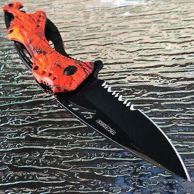 Spring Assisted Tactical Hunting Camping ORANGE CAMO Folding Pocket Knife Open