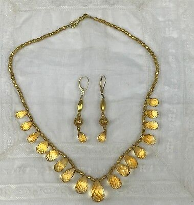 Exquisite 22k Gold Golden Imperial Topaz Necklace & Earrings Set