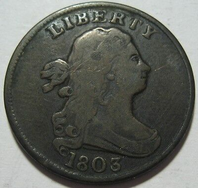 = 1803 FINE+ Half Cent, Low MINTage 92K, Super EYE Appeal, FREE Shipping