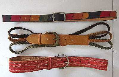 Lot x Vintage Bohemian Gypsy Festival Belts - All Genuine Leather