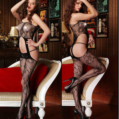 Bodystocking floreale sexy catsuit donna reggicalze lingerie intimo tuta DS79406