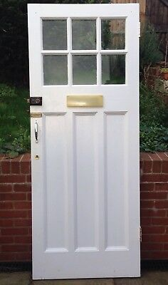 1930's Glazed Front Door With 5 Lever Lock And Keys