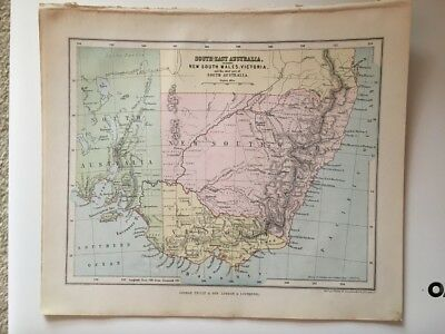 """Antique Map of """"South-East Australia and the chief part of South Australia"""""""