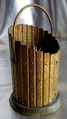 Antique Pat'd May.3.1887 Thin Molded Metal Pail Toothpick Match Holder. W/Handle