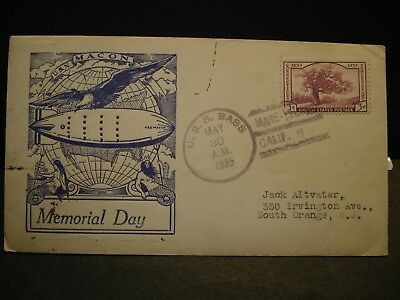 USS MACON ZRS-5 Naval Cover 1935 Airship MEMORIAL DAY Cachet USS BASS w/ insert