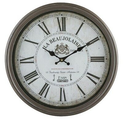 French Brown Vintage Style Wall Clock 40cm Time NEW