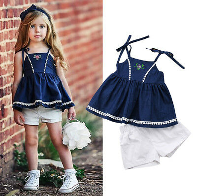 50d4944a718c US Stock Toddler Kids Girls Strap Denim Tops Dress Shorts Outfits Set  Clothes