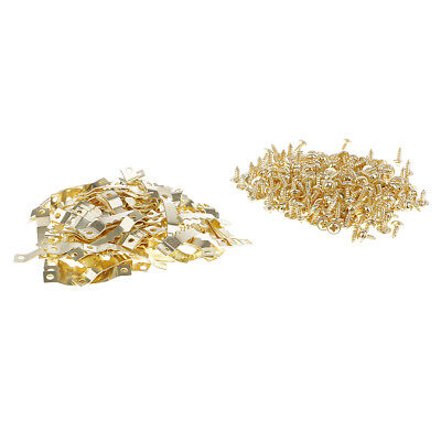 100 Set Golden Saw Tooth Hangers Hooks Fixings & Screws For Photo Canvas Art