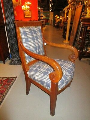 19c Period French Carved Fruitwood Begere Armchair Newly Upholstered Blue Plaid