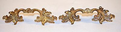 Vintage Pair of Fancy Shabby Ornate Solid Brass Handle Pull Drawer Cabinet