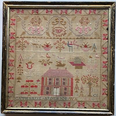 Beautiful Antique Sampler, House Beehive Industry CatherineAnderson Period frame