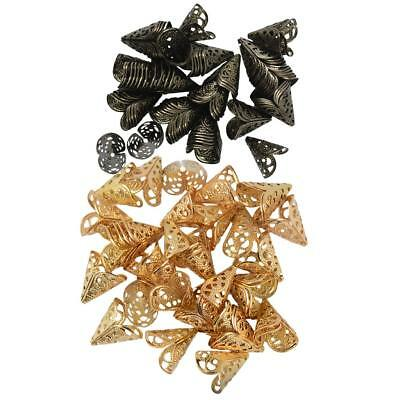 100Pcs 16mm Filigree Cone Flower Cap for Beads Tassel DIY Craft Gold & Black