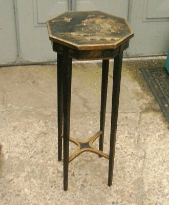Old Antique Regency Georgian English Black Lacquered Chinoiserie Side Table Fine