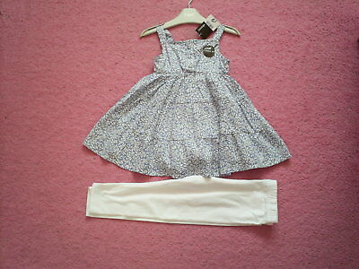"""Girls """"George"""" Blue Patterned Tunic Top/White Leggings Outfit for Age 2-3 BNWT"""