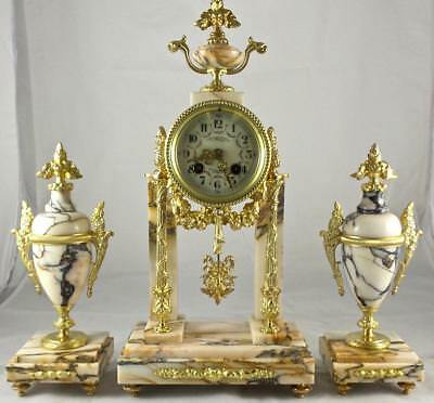 Antique 19thc French Gilt ormolu Bronze & Superb Marble Portico Mantel Clock Set