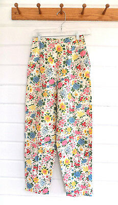 """Vintage High Waisted Tapered Cotton Pants Side Zip Fun Floral Print-24"""" Waist"""