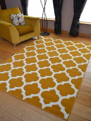 Ochre Mustard Gold Trellis Hall Runner Small Extra Large Long Carpets Rugs Cheap
