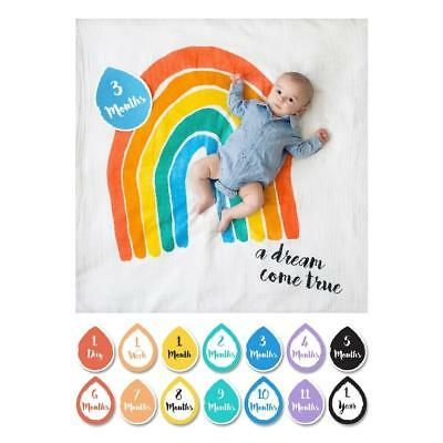 Lulujo Baby Photo Prop, First Year Milestone Blanket - A Dream Come True Rainbow