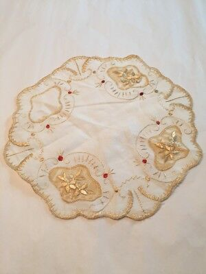"Art Deco Vtg Society Silk Embroidered On Linen 8"" Dollie Dresser Scarf As Is"