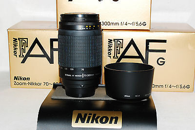 Beautiful Nikon Zoom-Nikkor AF-G 70-300 SILVER Lens + Warranty, 4 larger DSLRs