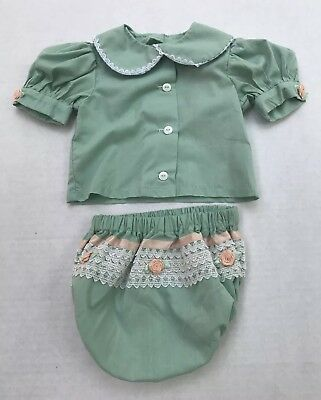 Vintage Sage Green Baby Girl Outfit With Lace & Pink Roses 12 Months