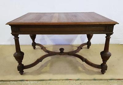 Large Massive Solid Rectangular Carved Antique French Jacobean Style Oak Dining