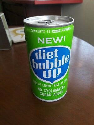 1967 60s RARE Aluminum Diet Bubble Up Pull Tab Soda Can Unopened Air Sealed