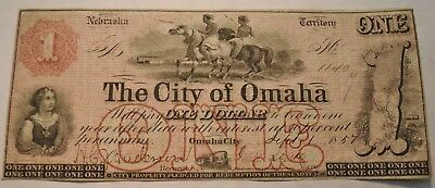 1857 $1 The City of Omaha Territory of Nebraska Obsolete Currency Note OneDollar