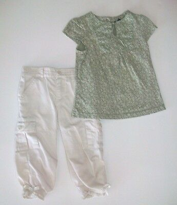 EUC BABY GAP Sage Green Top & OLD NAVY Light Tan Pants Outfit Set Size 4T & 5