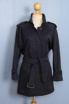 Womens BURBERRY Single Breasted Short TRENCH Coat Mac Navy 16/18 L/XL
