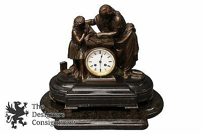Japy Freres 19th Century French Jesus Figural Slate Mantel Clock Gay Vicarino Co