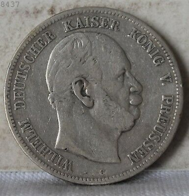 1876-C *Silver* German States Prussia 5 Marks *Free S/H After 1st Item*