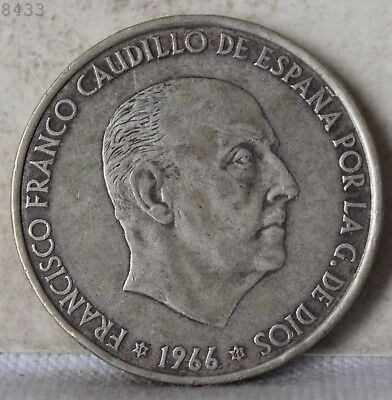 1966 *Silver* Spain 100 Pesetas *Free S/H After 1st Item*