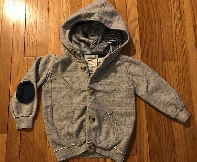 Used Baby Boys Zara Knitwear Hooded Sweater Elbow Patches Size 12-18 Months