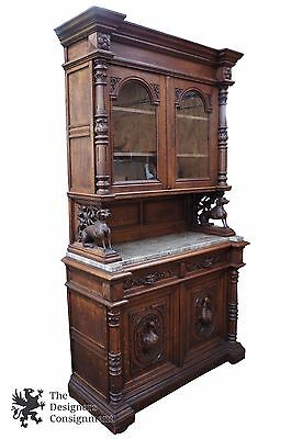 Antique 19th C. English Renaissance Carved Oak Hunt Cabinet Buffet Hutch Granite