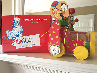 NIB Fisher-Price Toyfest Squeaky The Clown Pull Toy Limited Ed. Low #1783 1995