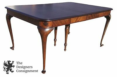 Antique Queen Anne Style Mahogany Dining Table Marquetry Inlay Clover Leaf 1940