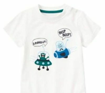 Nwt Gymboree Space Voyager White Aliens Shirt Size 2T