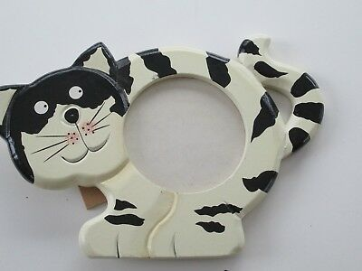 Cat Picture Frame,painted wood with standup back,see photos